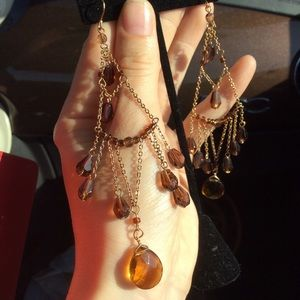 LONG Glass Stone Necklace (Orange amber stones)